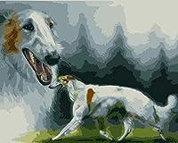 油絵 数字キットによる デジタル インテリア キャンバスの油絵子供 ホーム オフィス装飾 40x50センチ-犬のファンタジー_フレームレス