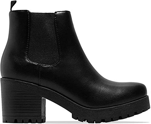 Soda Top Shoes Jaber Ankle Boot w/Lug Sole Elastic Gore and Chunky Heel (7.5, Black Pu)