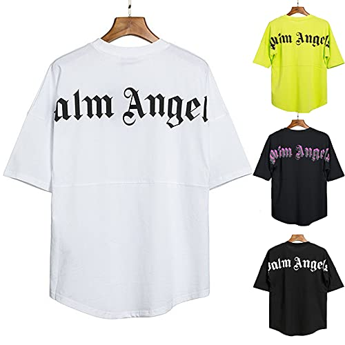 Palm Angel Herren und Damen T-Shirts lässige Kurzarm-Rundärmel Sommeroberteile Kurze Ärmel aus Baumwolle Hemden mit kreativen Buchstaben T-Shirt-Oberteile Mode Teenager Mädchen Rundhals Bluse Hemd
