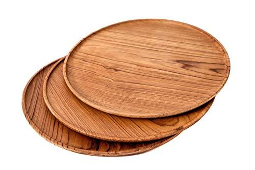 Windalf Rustikaler Servier Holzteller Rolla Ø 35 cm Vintage Pizzateller Brotzeit-Teller Antipasti-Platte Kuchenteller Kuchenteller Handarbeit aus Holz