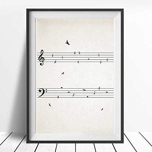 XIXISA Music Score Vintage Poster Print Música Wall Art Cuadro Lienzo Pintura Nota Musical Decoración de la Habitación Música Profesor Regalo 50x70cm Sin Marco