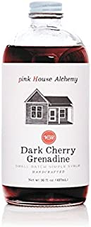 Pink House Alchemy Dark Cherry - Grenadine Simple Syrup 16 oz Cocktail Drink Mix - Use to Flavor Coffee - Hawaiian Shaved Ice - Dessert Topping - Using Only Fresh Fruit
