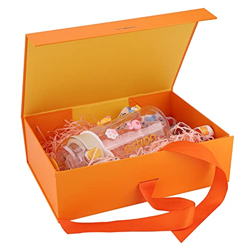 Caja de regalo de reutilizable Creative box,cajas de cartón caja con tapa Caja de regalo con magnética,caja de regalo de lujo premium con cinta Cajas de regalo con tapas para presentar (Orange)