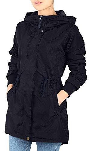iloveSIA Parka Femme Imperméable Veste Légère à Capuche Long Coupe Vent Chic Noir 44