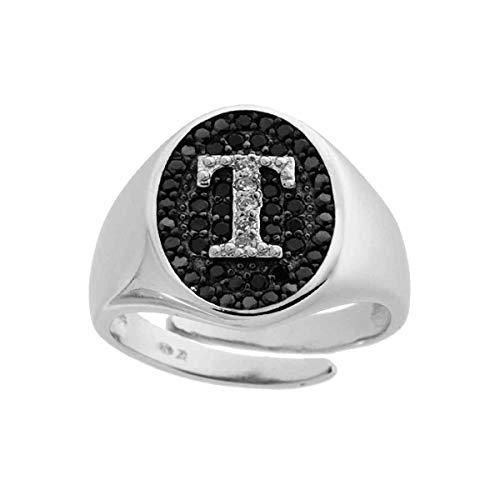 Anello chevalier ovale con lettera Iniziale T in zirconi bianchi in argento 925