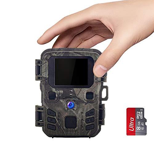 SUNTEKCAM Mini Caméra de Chasse 12MP 1080P Étanche IP65 avec 8Go Carte SD 850nm Vision Nocturne Caméra de Surveillance pour Animaux Sauvages et Domicile LCD 2.0 Pouces
