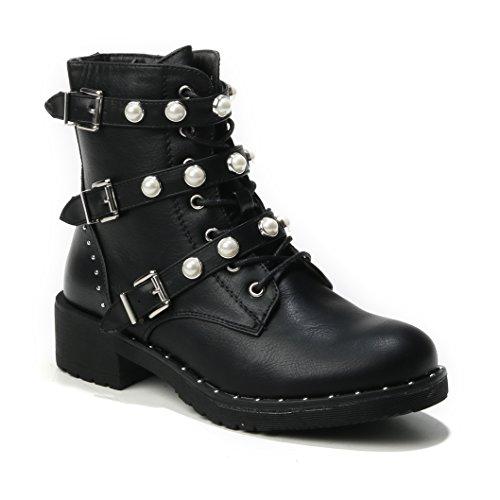 HERIXO Damen Schuhe Stiefeletten Schnallen Verzierung Perlen Nieten Flache Reissverschluss halbhoche Schnürboots Schnürer Military Boots(39,Black)