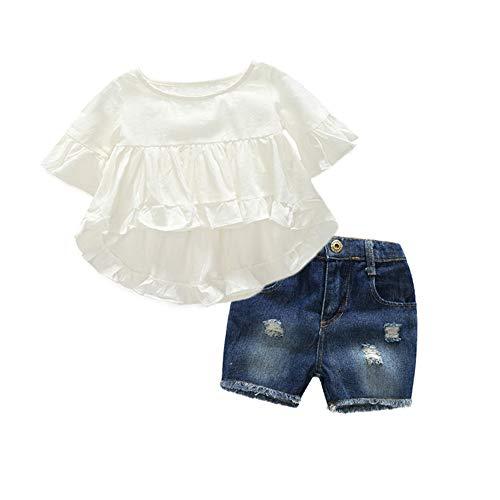 Gyratedream Baby Meisjes Kleding Set Voor 1-7 Jaar, Zomer Baby Meisje Katoen Effen Vlinder Mouw Blouse T-shirt Casual Denim Shorts Outfits Set, 4-5 Years, Kleur: wit