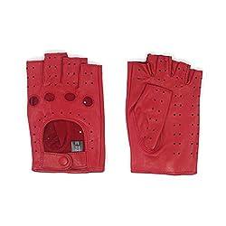 Harssidanzar Damen Halbfinger Lederhandschuhe für fahren Fingerlose Lammfell ungefüttert Handschuhe GL012,rot,Größe L