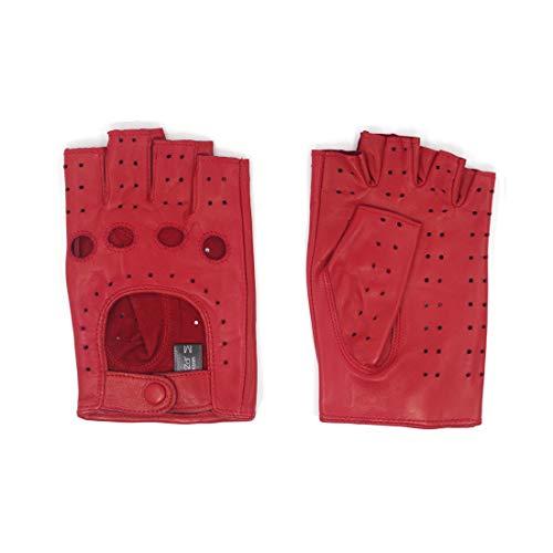 Harssidanzar Donna Guanti da guida in pelle senza dita da uomo Mezzo dito sfoderato in montone GL012,Rosso,taglia M