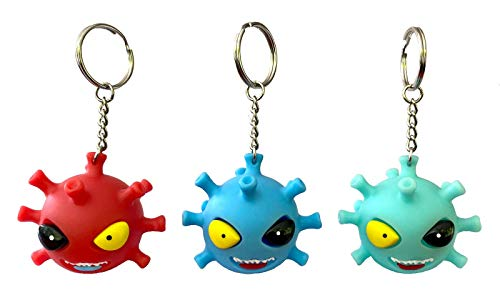 3 Covid Toys Stress Ball Keychain - Squishies with Pop Out Eyes Sensory Fidget Squishy Gifts Party Favors Pinata Goodie Bag Stuffers Back to School
