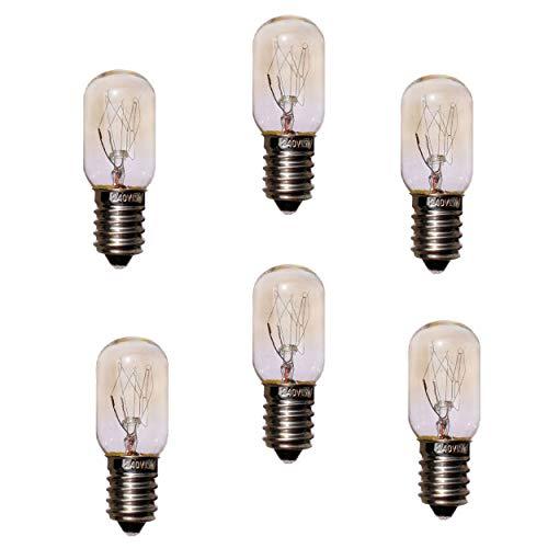 JINYU 6pcs Bombillas de sal de repuesto del Himalaya de 15 W, bombillas T20 E14 (paquete de 6), bombillas T20 de 220 V, bombilla incandescente blanca cálida, ángulo de haz de 360 °, 230 V 240 V