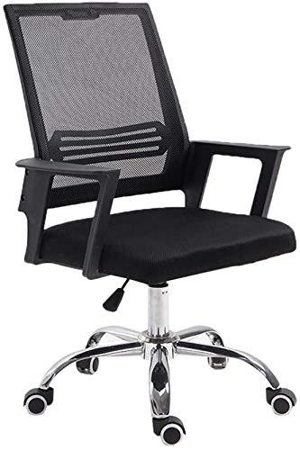 Silla negra para personal, cómoda y fácil de limpiar, silla de oficina, escritorio y silla para el hogar, silla de dormitorio, silla para estudiantes (color negro)