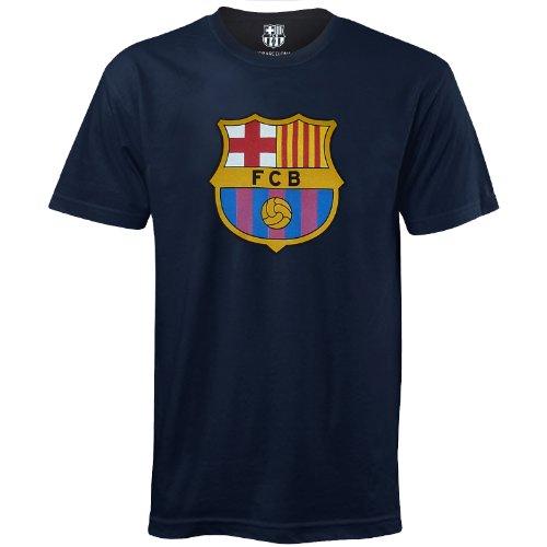 FC Barcelona Herren T-Shirt mit originalem Fußball-Wappen - Geschenkartikel - Blau - M