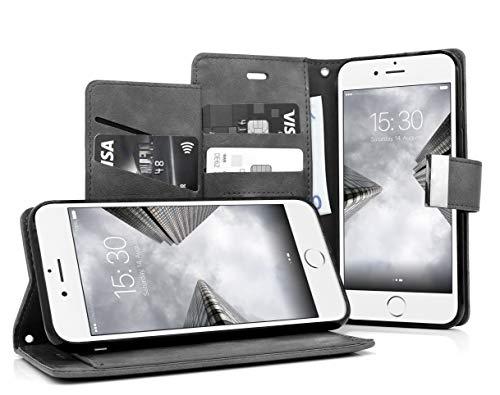 MyGadget Funda Flip Cierre Magnético para Apple iPhone 6 6s en Cuero Sintético PU - Carcasa Tarjetero con 5 Bolsillos y Soporte Plegable Anti Golpes - Gris
