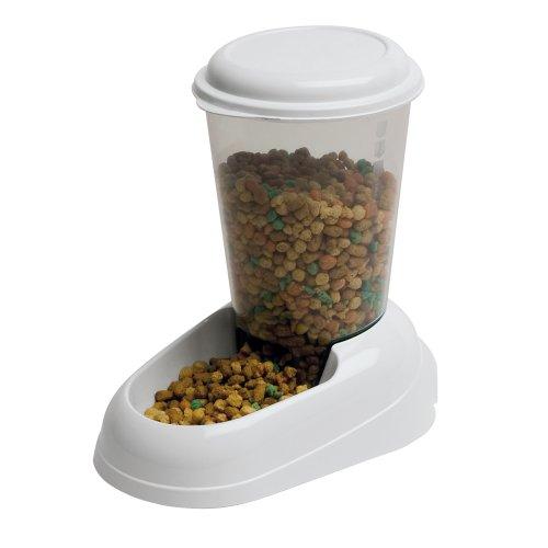 Ferplast Futterspender Zenith für Katzen und Hunde – Hochwertiger Spender mit transparentem Nachfülltank – Farbe: Weiß – Größe: 3 Liter