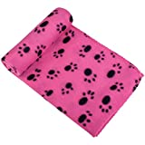 Aodaer 1 Piece Pet Blankets Dog Cat Bunny Small Animals Blanket Comfortable Warm Sleep Mat with Paw Print for Beds, Floors, Cars, Rose Red, 70 x 100cm