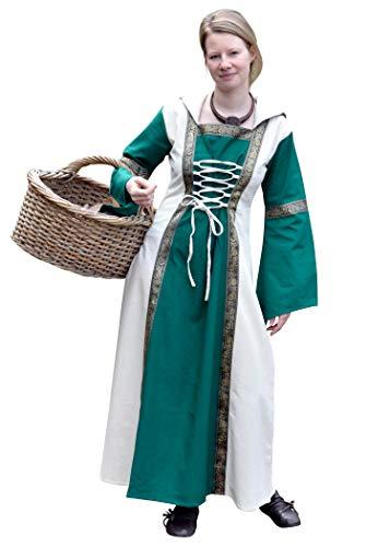 Battle-Merchant - Robe médiévale à Capuche Eleanor - pour Jeux de rôle Grandeur Nature/Viking - Verte/Couleur Naturelle - Verte/Naturel - S