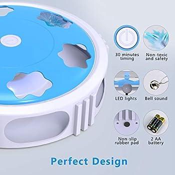 DADYPET Jouet pour Chat, Jouet Chat interactif Embuscade avec Plume rotative électronique (avec Cloche, LED, Batterie incluses)