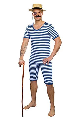 shoperama Bañador de tirantes para hombre de los años 20 y 30, con diseño de payaso, retro, histórico, JGA, color: azul/blanco, talla: 6/M