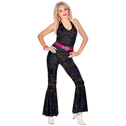 WIDMANN 05032 - Vestito da donna, anni '70, stile discoteca, taglia M, colore: Nero