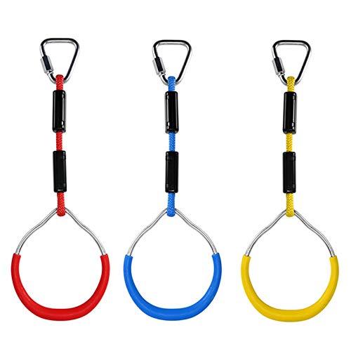 raspbery Kinderholz Trapeze Schaukel, 3 STÜCKE Swing Bar Ringe, Bunte Hinterhof Outdoor Gymnastikring Ninja Hindernisparcours Kit für Klettergerüste und Gartenschaukeln