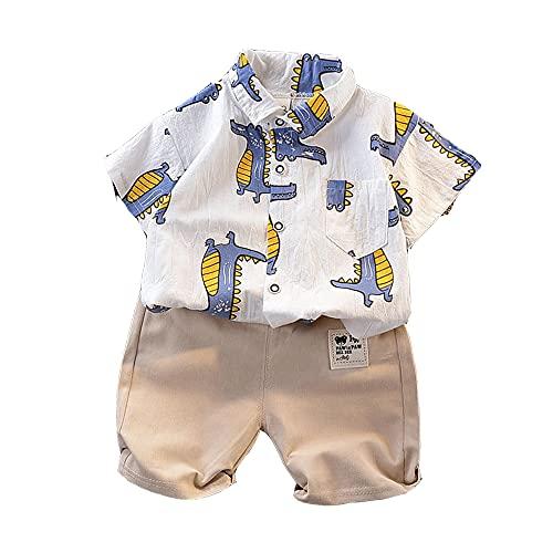 Smile Diary Ropa de Dinosaurio de Verano Niños niños de algodón de algodón Camisa de Manga Corta Uniforme de Moda para niños Disfraz de bebé Azul Rojo(púrpura sin Zapatos,12m)