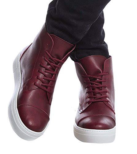 Leif Nelson Herren Schuhe Klassische Stiefel Freizeitschuhe Boots Elegante Winterschuhe Männer Sneakers LN158;45,Bordo
