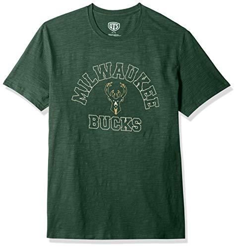 OTS Hombres de la NBA Slub Envejecido tee, Hombre, NBA Men's Slub Distressed tee, Verde Oscuro