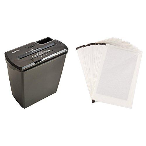 AmazonBasics Aktenvernichter, 7-8 Blatt, Streifenschnitt, CD-Schredder und Schmiermittelblätter, 12 Stk.