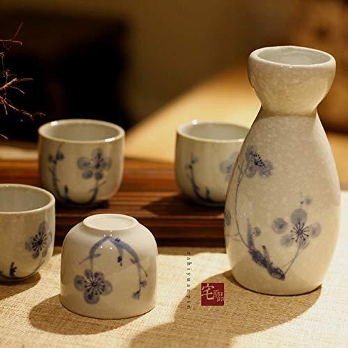 Im japanischen Stil von Hand bemalt Sake Weinset Geschenkkarton Wein Topf Tasse Fruchtweinspender Schnaps winebowl 5pcs / set (Color : 3)