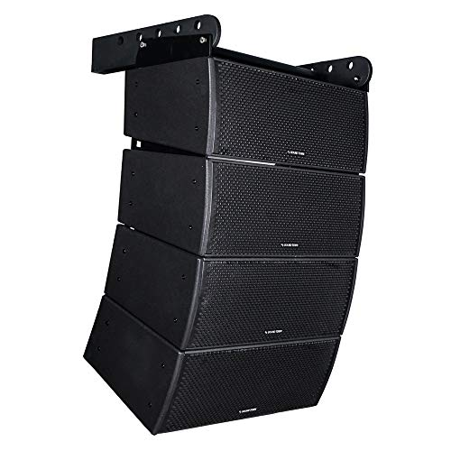"""Sound Town All-Weather 4 x Dual 8"""" Waterproof Passive Line Array System with 3"""" Titanium Compression Drivers, Full Range/Bi-amp Switchable, Black"""