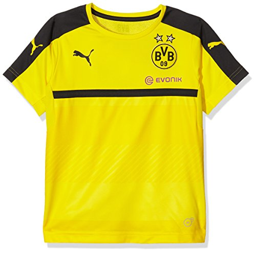 PUMA Kinder T-shirt BVB Training Jersey with Sponsor, cyber yellow-Black, 164