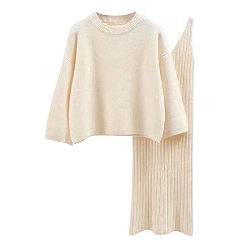 semen Damen Strick Kleid Set Oberteil Pullover Frauen Clubwear Blues und Rock Bodycon 3 teiliges Set Minikleid aus Strick Pullover Dress Kleid