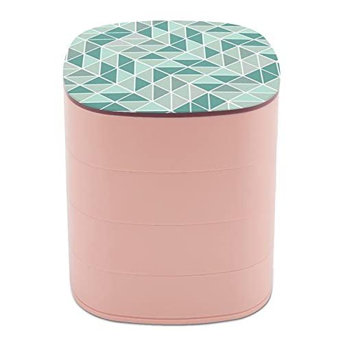 Rotar la caja de joyería, caja de almacenamiento de joyas de 4 capas, rotación de 360 grados, caja creativa para anillos, pendientes, collar, broche, baratijas, patrón triángulo abstracto gris menta