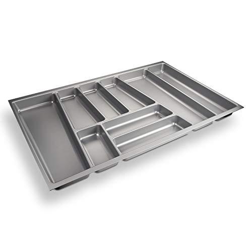 Sotech Besteckeinsatz ORGA-Box II für Nobilia 80er Schublade (462 x 705 mm Bitte MESSEN SIE Ihr SCHUBLADENINNENMAß!) Silbergrau