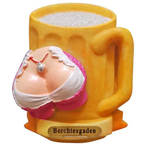 Ciffre Kühlschrank Magnet Polyresin Bierkrug Maß Bier Dirndl Busen - Berchtesgaden A1