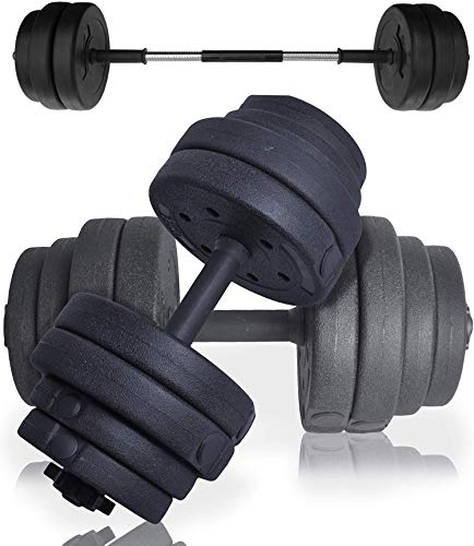 Senshi Japan 30 kg manubri manubri set – completo di alta qualità spin Lock collari e manubri a bilanciere converter – perfetto per sollevamento pesi, bodybuilding, sollevamento pesi, ecc.