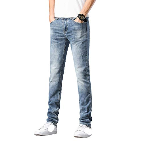 Jeans para Hombre Verano Tendencia Fina Pierna Recta Suelta Slim Fit Stretch Jeans Casuales de Todo fósforo Jeans Americana 32