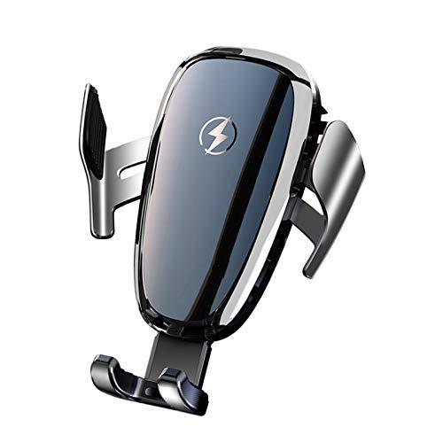 WYW Teléfono Inteligente Coche del sostenedor del Soporte automático, Titular Anti-Apagado eléctrico del Coche para iPhone Samsung Huawei Xiaomi OnePlus,Plata