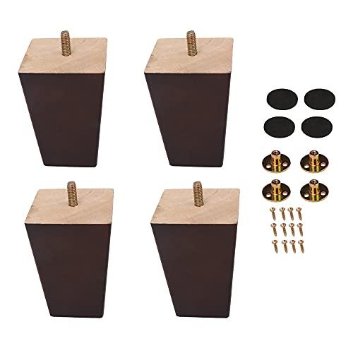 Mxfans 4 patas cuadradas de madera para sofá de 10 x 7 x 5 cm