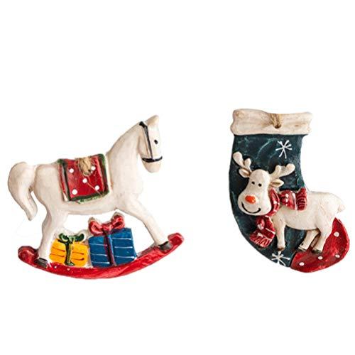 BESTOYARD 2 peças de miniaturas de resina de Natal de cavalo de Troia, enfeite para pendurar na árvore de Natal, pendurado para decoração de interiores de Natal