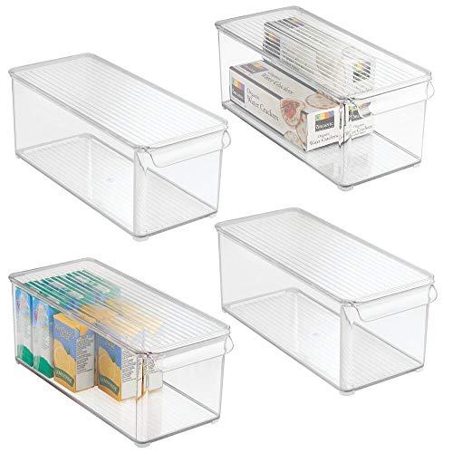 mDesign Juego de 4 Cajas organizadoras con Tapa – Cajón para Nevera, también Adecuado para la Cocina o el lavadero – Contenedor de plástico Libre de BPA – Guardatodo para el hogar – Transparente