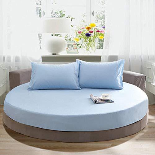 CYYyang Funda de colchón Anti chinches, Transpirable, Funda de Cama Redonda de algodón de Color Liso-Azul Cielo_2.2m