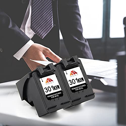 Mony Remanufacturado Cartuchos de Tinta Reemplazo para HP 301 XL 301XL (2 Negro) Compatible con HP Deskjet 2540 1510 3050 2050 1512 1050 Envy 4500 5530 4502 Officejet 4630 2620 Impresoras