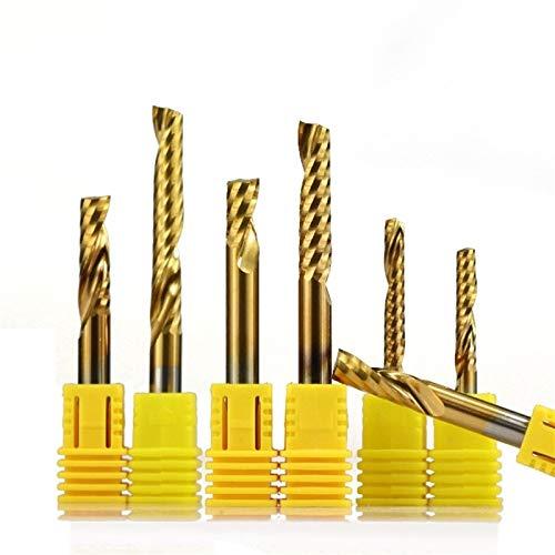 SHENYF 1pc 4/6 mm Vástago Sola Flauta de Molino de Extremo de carburo de Grabado del CNC bit Tin Coated caña Recta de fresado Cuchilla en Espiral End Mills Lo más confiable (Size : 6x25x60mm)