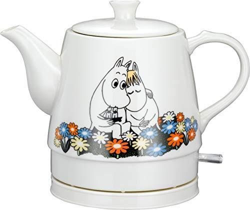 MOOMIN 19130005 Keramik Wasserkocher by ADEXI 0,80 Liter, Wasserkocher in Teekannen-Form, Moomin Design,1750 Watt, Flower Pot Design