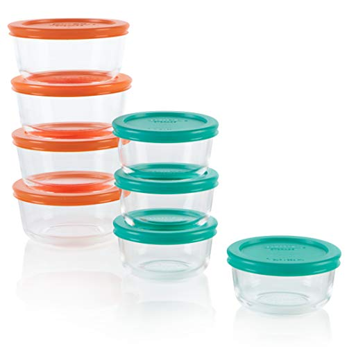 Pyrex Simply Store Meal Prep Glass Food Storage Containers (16-Piece Set, BPA Free Lids, Oven Safe)