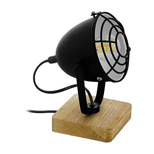 EGLO Lámpara de mesa Gatebeck 1, 1 lámpara de mesa industrial, vintage, retro, lámpara de noche de acero y madera, lámpara de salón en negro, natural, lámpara con interruptor, casquillo E14