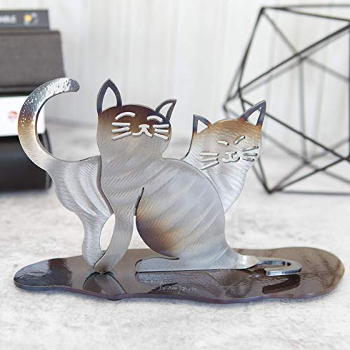 Personalized Gift for Cat Lovers - Hand-Forged Iron Cat Sculpture - Indoor Pet Memorial